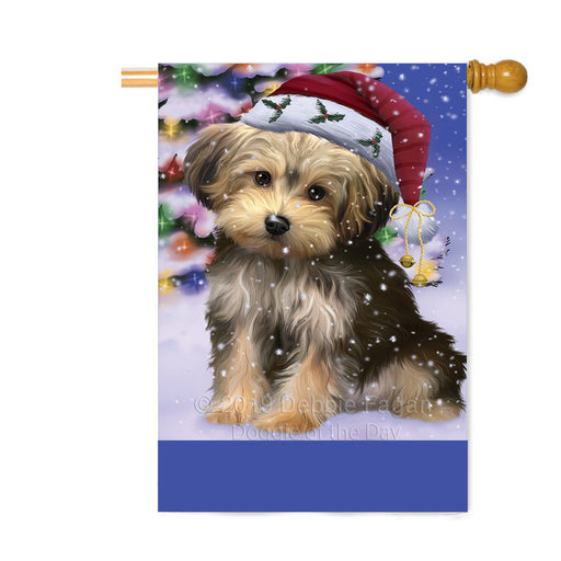 Personalized Winterland Wonderland Yorkipoo Dog In Christmas Holiday Scenic Background Custom House Flag FLG-DOTD-A61500