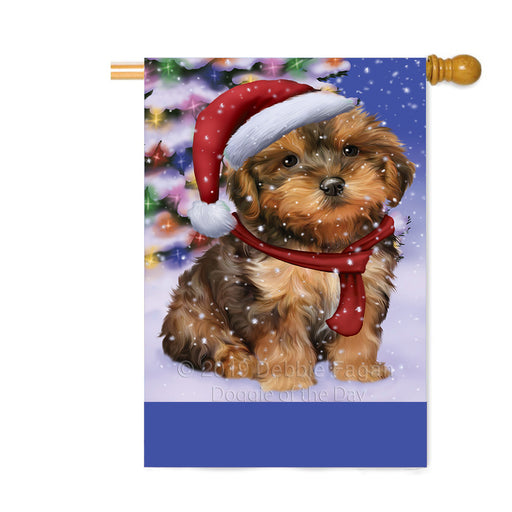 Personalized Winterland Wonderland Yorkipoo Dog In Christmas Holiday Scenic Background Custom House Flag FLG-DOTD-A61501