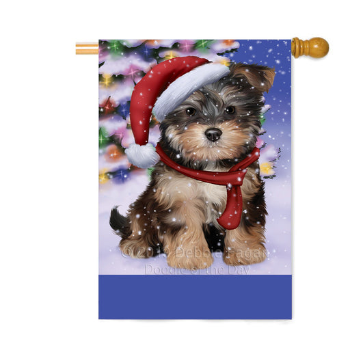 Personalized Winterland Wonderland Yorkipoo Dog In Christmas Holiday Scenic Background Custom House Flag FLG-DOTD-A61502