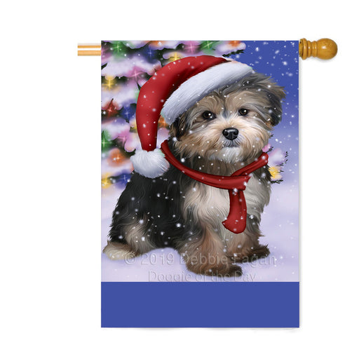 Personalized Winterland Wonderland Yorkipoo Dog In Christmas Holiday Scenic Background Custom House Flag FLG-DOTD-A61503