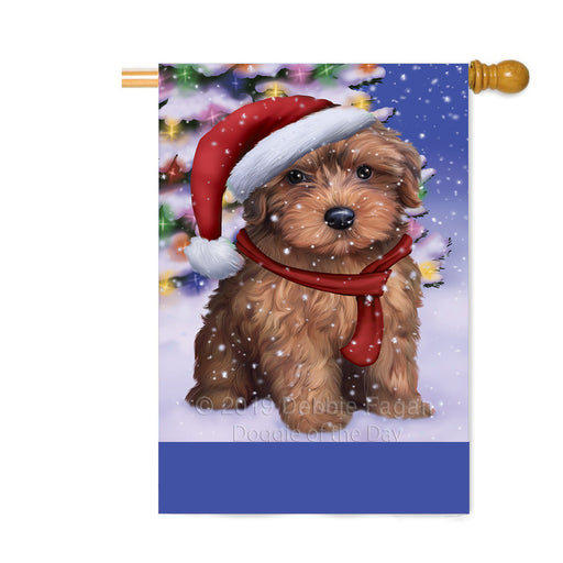 Personalized Winterland Wonderland Yorkipoo Dog In Christmas Holiday Scenic Background Custom House Flag FLG-DOTD-A61504