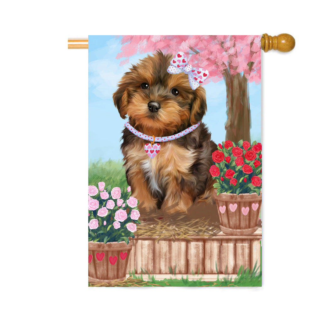 Personalized Rosie 25 Cent Kisses Yorkipoo Dog Custom House Flag FLG64977