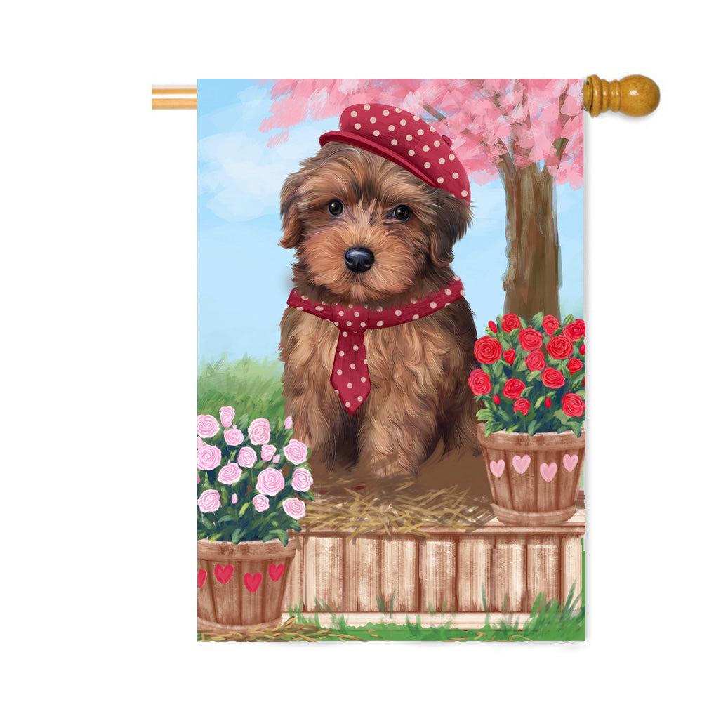 Personalized Rosie 25 Cent Kisses Yorkipoo Dog Custom House Flag FLG64978