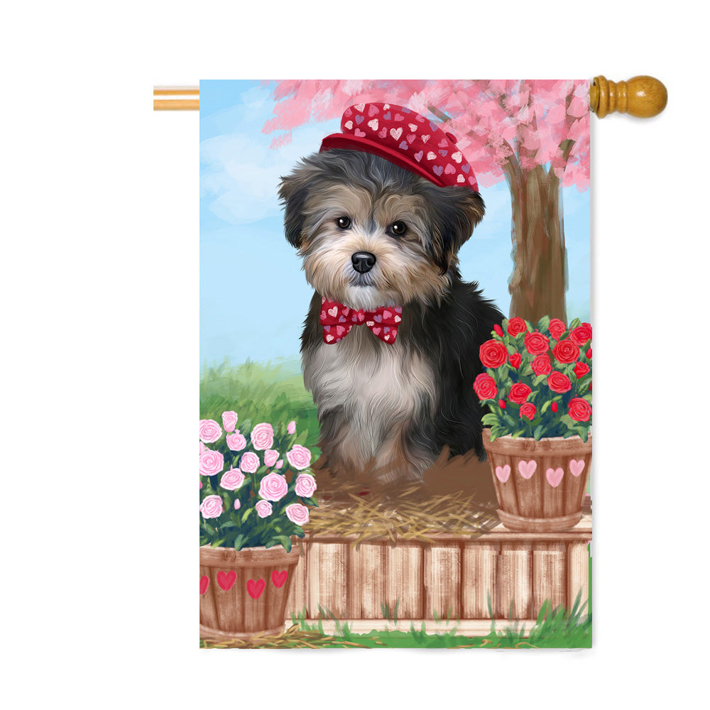 Personalized Rosie 25 Cent Kisses Yorkipoo Dog Custom House Flag FLG64979