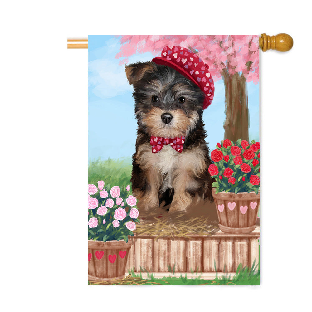 Personalized Rosie 25 Cent Kisses Yorkipoo Dog Custom House Flag FLG64980