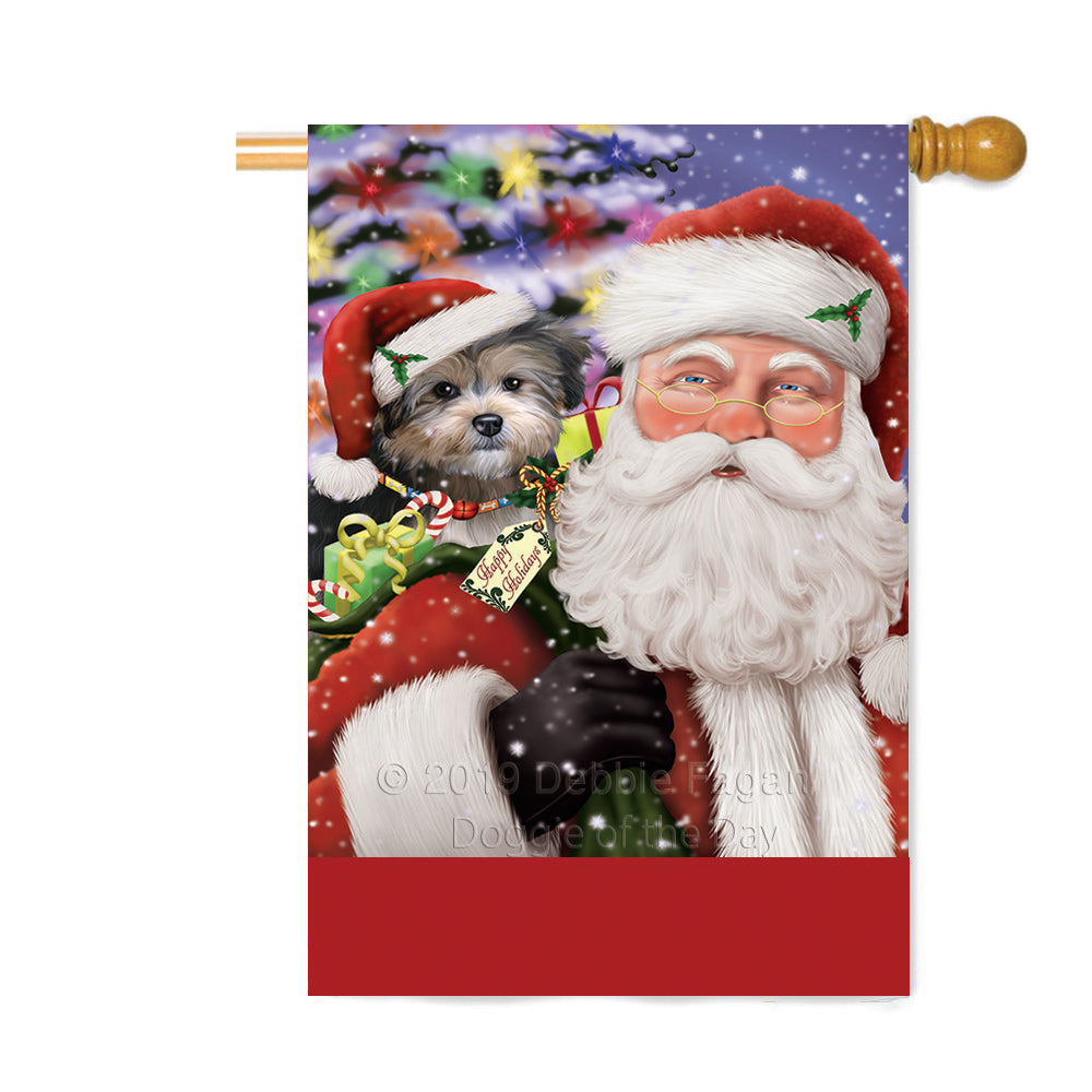 Personalized Santa Carrying Yorkipoo Dog and Christmas Presents Custom House Flag FLG-DOTD-A63563