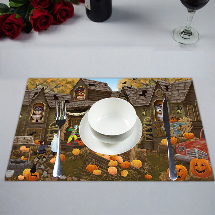 Haunted House Halloween Trick or Treat Yorkipoo Dogs Placemat