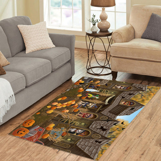 Haunted House Halloween Trick or Treat Yorkipoo Dogs Area Rug