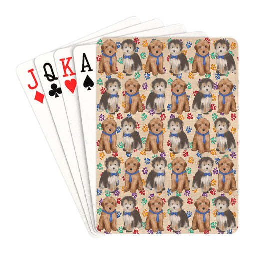 Rainbow Paw Print Yorkipoo Dogs Blue Playing Card Decks