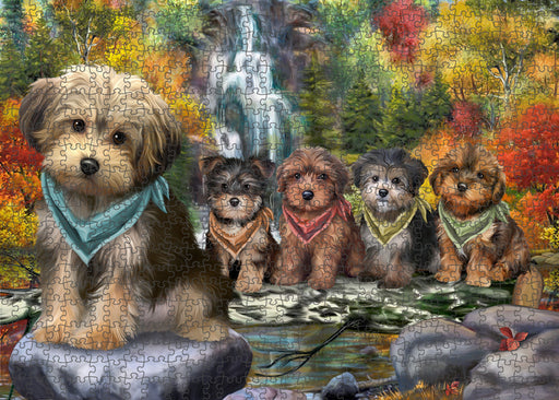 Scenic Waterfall Yorkipoos Dog Puzzle with Photo Tin PUZL54429