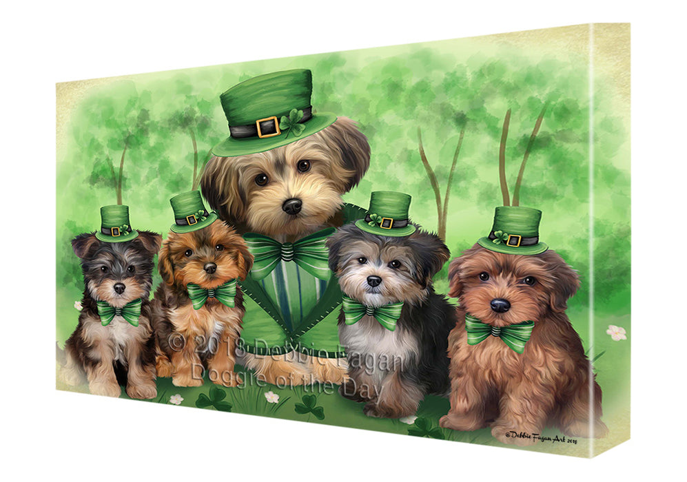 St. Patricks Day Irish Family Portrait Yorkipoos Dog Canvas Wall Art CVS59781