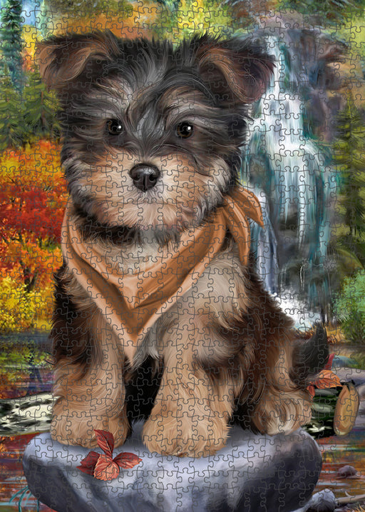 Scenic Waterfall Yorkipoo Dog Puzzle with Photo Tin PUZL54432