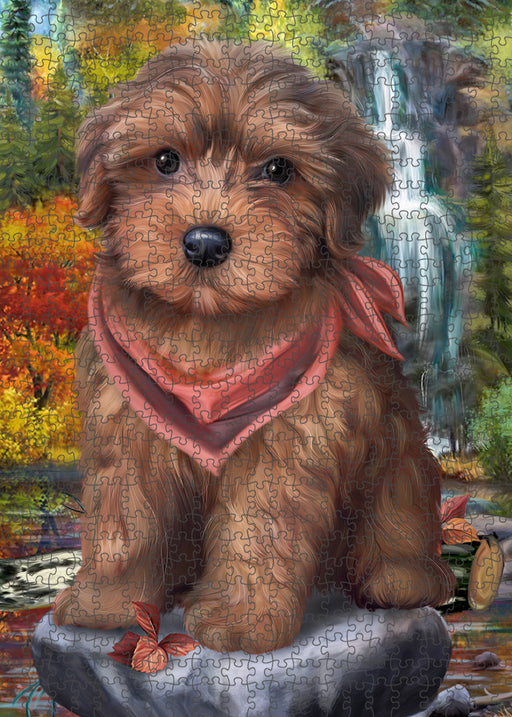 Scenic Waterfall Yorkipoo Dog Puzzle with Photo Tin PUZL54435