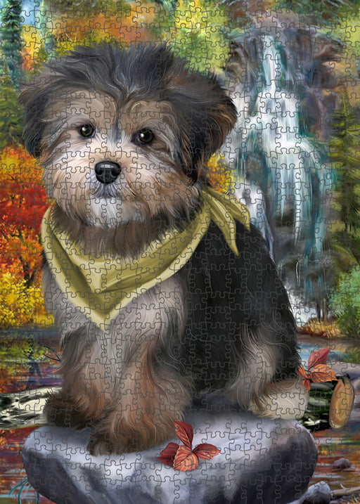 Scenic Waterfall Yorkipoo Dog Puzzle with Photo Tin PUZL54438