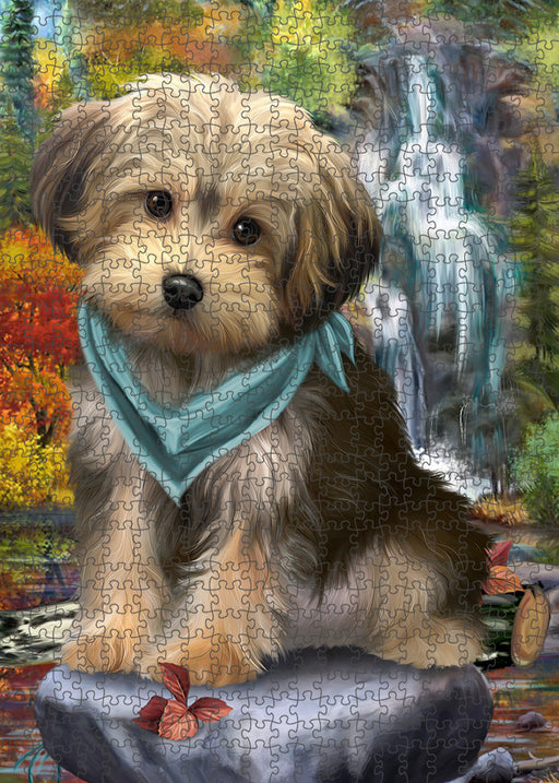 Scenic Waterfall Yorkipoo Dog Puzzle with Photo Tin PUZL54444