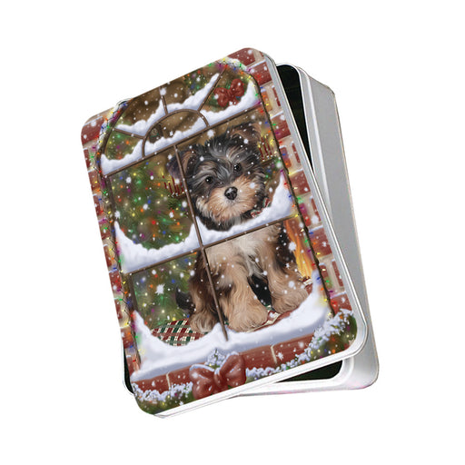 Please Come Home For Christmas Yorkipoo Dog Sitting In Window Photo Storage Tin PITN57571