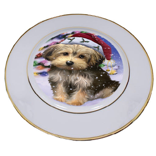 Winterland Wonderland Yorkipoo Dog In Christmas Holiday Scenic Background Porcelain Plate PLT55716