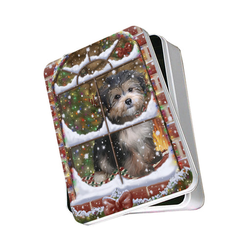 Please Come Home For Christmas Yorkipoo Dog Sitting In Window Photo Storage Tin PITN57572