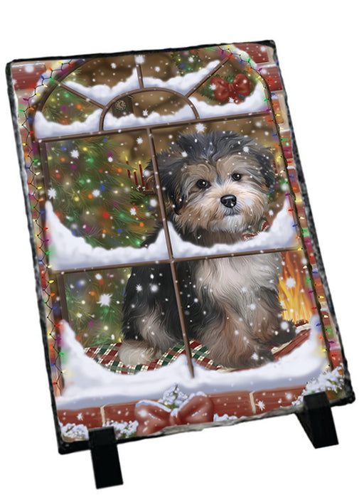 Please Come Home For Christmas Yorkipoo Dog Sitting In Window Sitting Photo Slate SLT57572
