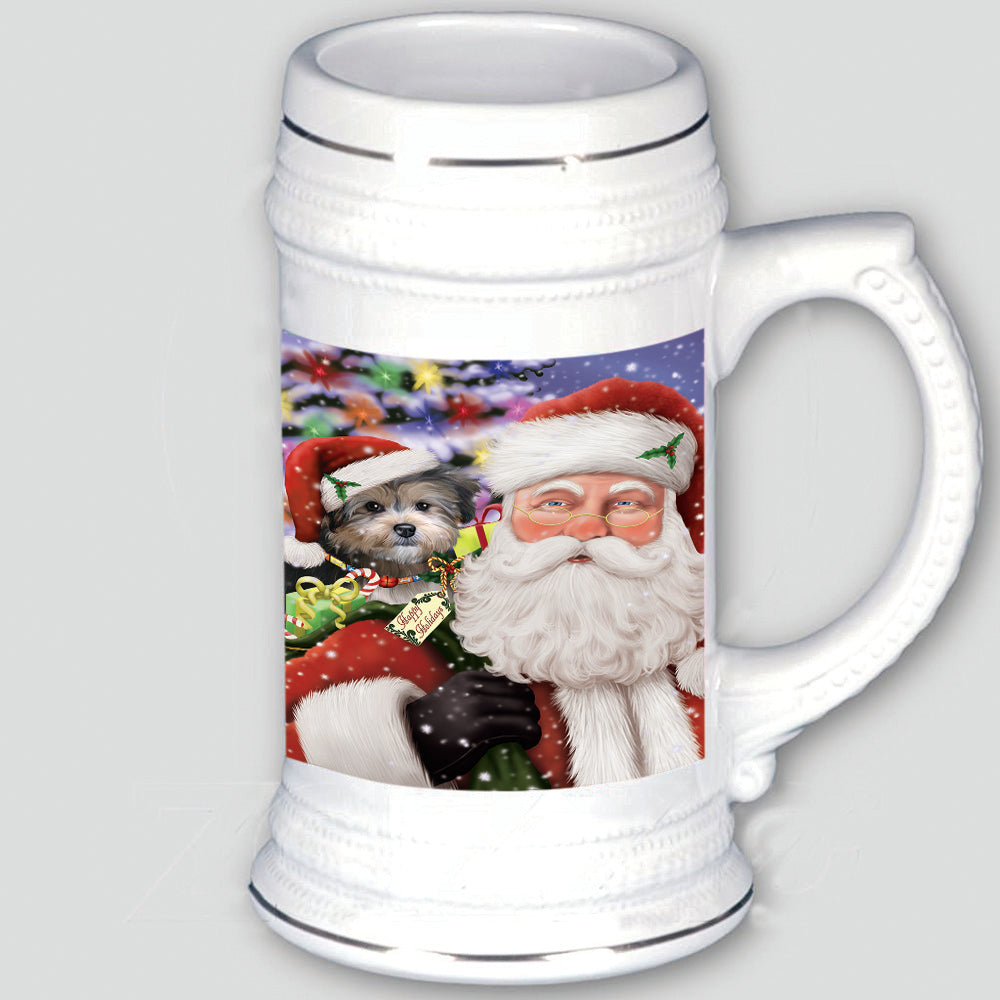 Santa Carrying Yorkipoo Dog and Christmas Presents Beer Stein BST55204