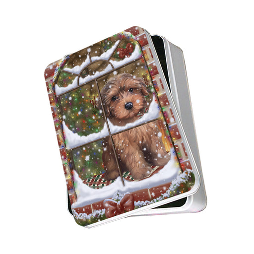 Please Come Home For Christmas Yorkipoo Dog Sitting In Window Photo Storage Tin PITN57573