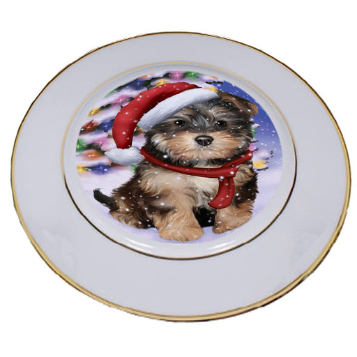 Winterland Wonderland Yorkipoo Dog In Christmas Holiday Scenic Background Porcelain Plate PLT55718