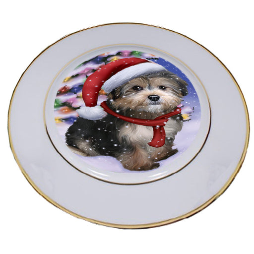 Winterland Wonderland Yorkipoo Dog In Christmas Holiday Scenic Background Porcelain Plate PLT55719