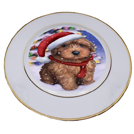 Winterland Wonderland Yorkipoo Dog In Christmas Holiday Scenic Background Porcelain Plate PLT55720