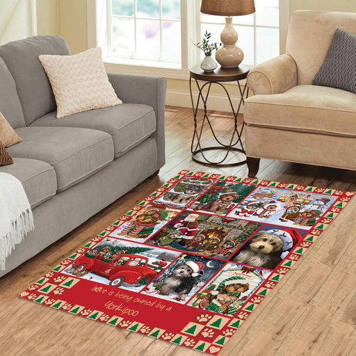 Love is Being Owned Christmas Yorkipoo Dogs Area Rug