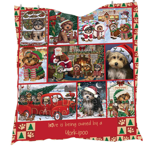 Love is Being Owned Christmas Yorkipoo Dogs Quilt