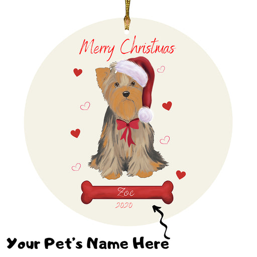 Personalized Merry Christmas  Yorkshire Terrier Dog Christmas Tree Round Flat Ornament RBPOR59038