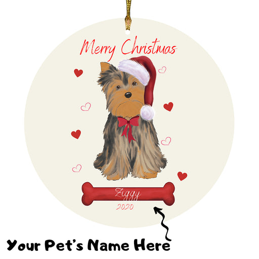Personalized Merry Christmas  Yorkshire Terrier Dog Christmas Tree Round Flat Ornament RBPOR59039