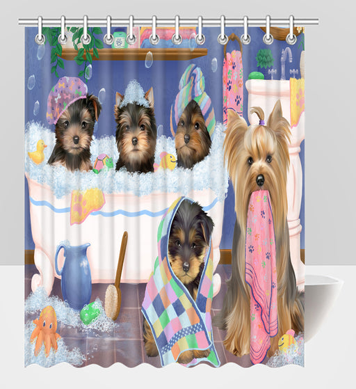 Rub A Dub Dogs In A Tub Yorkshire Terrier Dogs Shower Curtain