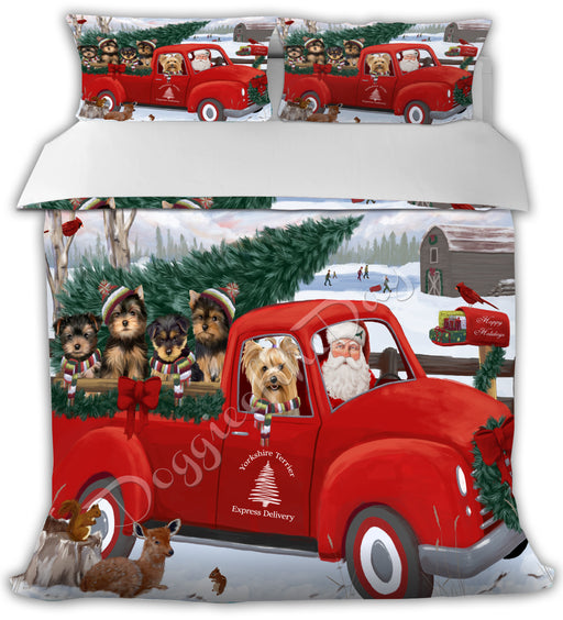 Christmas Santa Express Delivery Red Truck Yorkshire Terrier Dogs Bed Duvet Cover DVTCVR48672