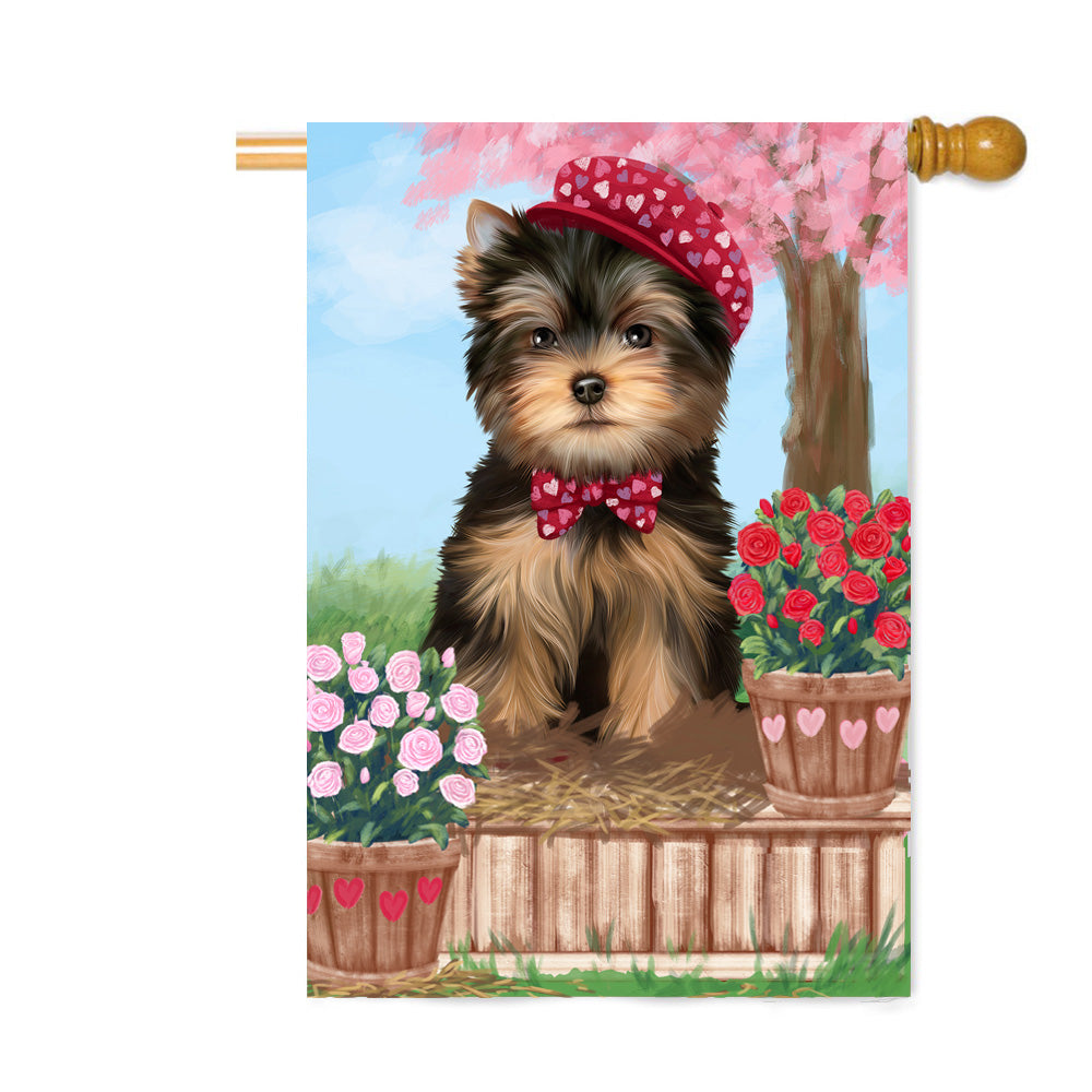Personalized Rosie 25 Cent Kisses Yorkshire Terrier Dog Custom House Flag FLG64981