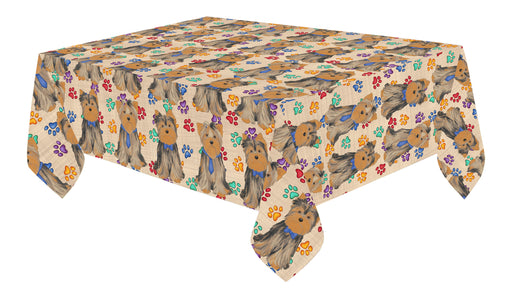 Rainbow Paw Print Yorkshire Terrier Dogs Blue Cotton Linen Tablecloth