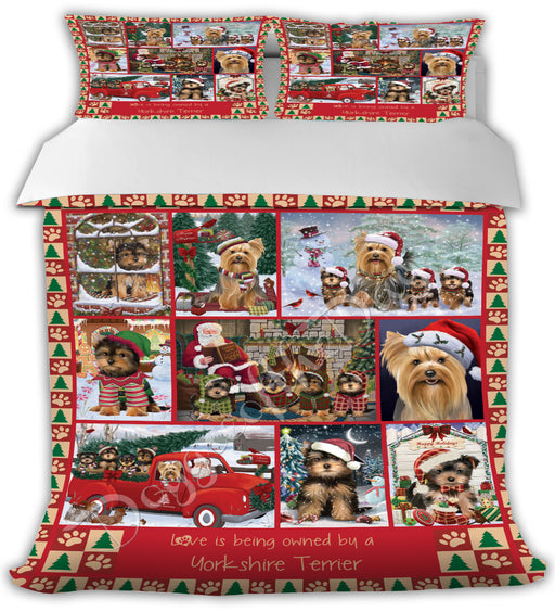 Love is Being Owned Christmas Yorkshire Terrier Dogs Bed Comforter CMFTR49281