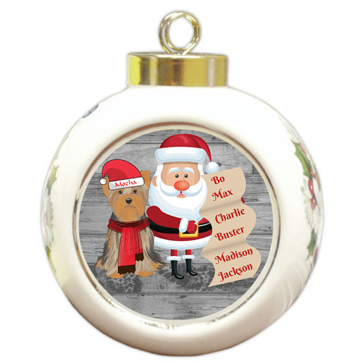 Custom Personalized Santa with Yorkshire Terrier Dog Christmas Round Ball Ornament