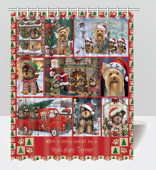 Love is Being Owned Christmas Yorkshire Terrier Dogs Shower Curtain