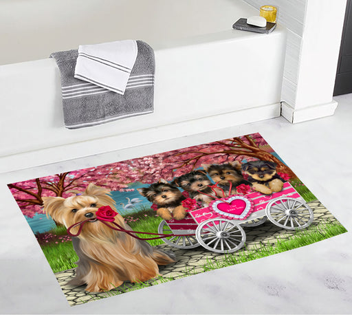 I Love Yorkshire Terrier Dogs in a Cart Bath Mat
