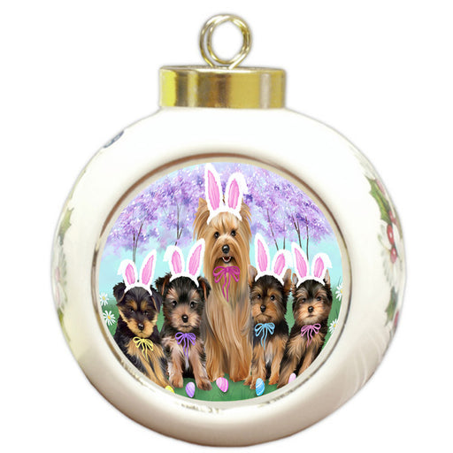 Yorkshire Terriers Dog Easter Holiday Round Ball Christmas Ornament RBPOR49304