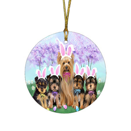 Yorkshire Terriers Dog Easter Holiday Round Flat Christmas Ornament RFPOR49295