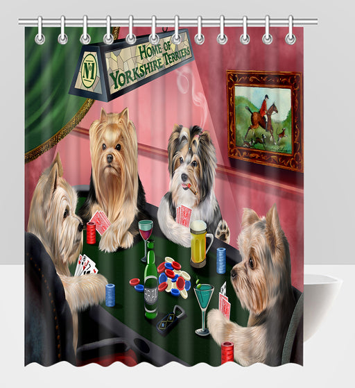 Home of  Yorkshire Terrier Dogs Playing Poker Shower Curtain