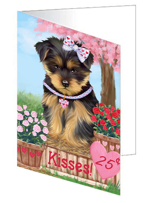 Rosie 25 Cent Kisses Yorkshire Terrier Dog Note Card NCD73340