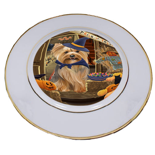 Enter at Own Risk Trick or Treat Halloween Yorkshire Terrier Dog Porcelain Plate PLT53357