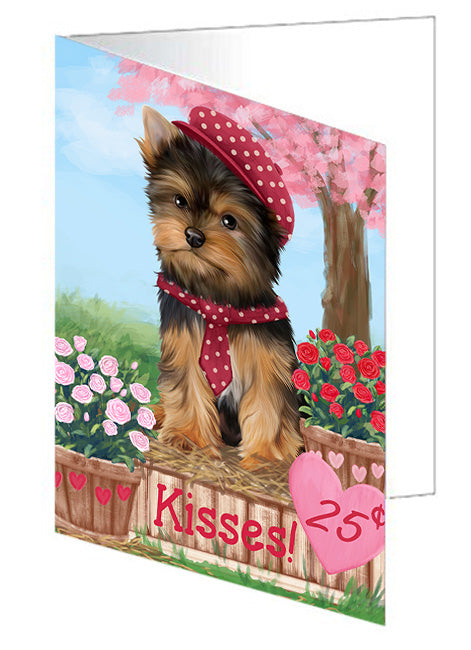 Rosie 25 Cent Kisses Yorkshire Terrier Dog Note Card NCD73343