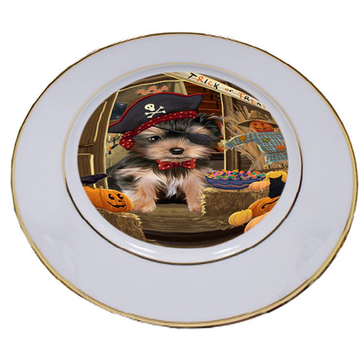 Enter at Own Risk Trick or Treat Halloween Yorkshire Terrier Dog Porcelain Plate PLT53359