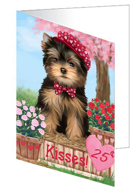 Rosie 25 Cent Kisses Yorkshire Terrier Dog Note Card NCD73346