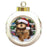 Trotting in the Snow Yorkshire Terrier Dog Round Ball Christmas Ornament RBPOR54736