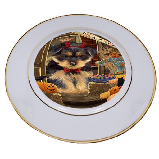 Enter at Own Risk Trick or Treat Halloween Yorkshire Terrier Dog Porcelain Plate PLT53360
